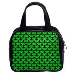 Scales3 Black Marble & Green Colored Pencil (r) Classic Handbags (2 Sides)