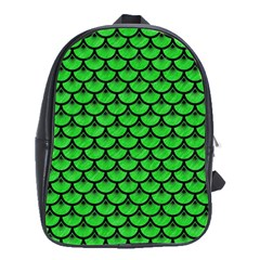 Scales3 Black Marble & Green Colored Pencil (r) School Bag (large)