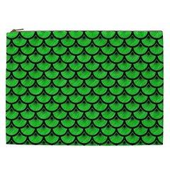 Scales3 Black Marble & Green Colored Pencil (r) Cosmetic Bag (xxl)