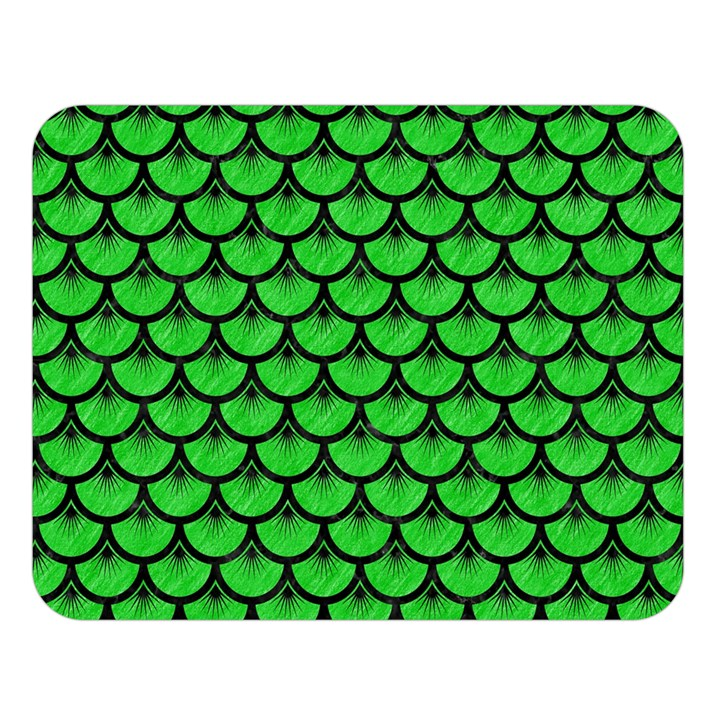 SCALES3 BLACK MARBLE & GREEN COLORED PENCIL (R) Double Sided Flano Blanket (Large)