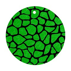 Skin1 Black Marble & Green Colored Pencil Ornament (round)