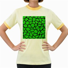 Skin1 Black Marble & Green Colored Pencil Women s Fitted Ringer T Shirts