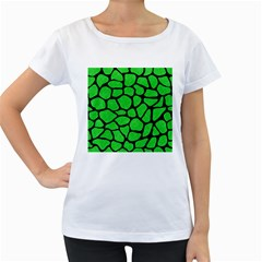 Skin1 Black Marble & Green Colored Pencil Women s Loose Fit T Shirt (white)
