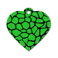 Skin1 Black Marble & Green Colored Pencil Dog Tag Heart (two Sides)