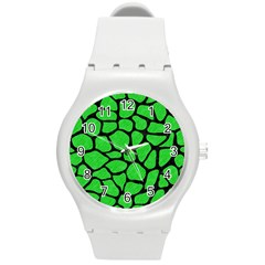 Skin1 Black Marble & Green Colored Pencil Round Plastic Sport Watch (m)