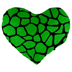 Skin1 Black Marble & Green Colored Pencil Large 19  Premium Heart Shape Cushions