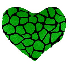 Skin1 Black Marble & Green Colored Pencil Large 19  Premium Flano Heart Shape Cushions