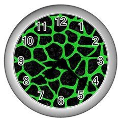 Skin1 Black Marble & Green Colored Pencil (r) Wall Clocks (silver)