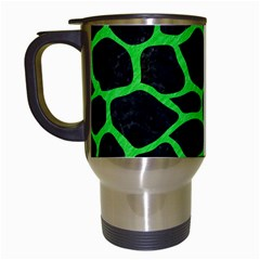 Skin1 Black Marble & Green Colored Pencil (r) Travel Mugs (white)