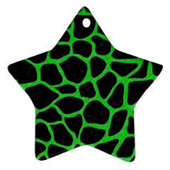 Skin1 Black Marble & Green Colored Pencil (r) Star Ornament (two Sides)