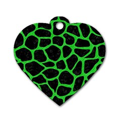 Skin1 Black Marble & Green Colored Pencil (r) Dog Tag Heart (two Sides)