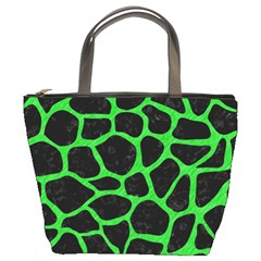 Skin1 Black Marble & Green Colored Pencil (r) Bucket Bags