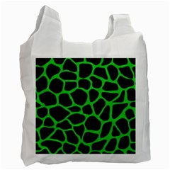 Skin1 Black Marble & Green Colored Pencil (r) Recycle Bag (one Side)