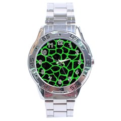 Skin1 Black Marble & Green Colored Pencil (r) Stainless Steel Analogue Watch