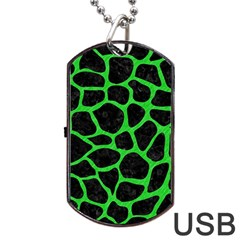 Skin1 Black Marble & Green Colored Pencil (r) Dog Tag Usb Flash (two Sides)