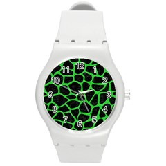 Skin1 Black Marble & Green Colored Pencil (r) Round Plastic Sport Watch (m)