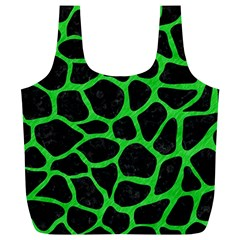 Skin1 Black Marble & Green Colored Pencil (r) Full Print Recycle Bags (l)