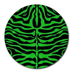 Skin2 Black Marble & Green Colored Pencil Round Mousepads