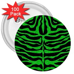Skin2 Black Marble & Green Colored Pencil 3  Buttons (100 Pack)