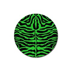 Skin2 Black Marble & Green Colored Pencil Magnet 3  (round)
