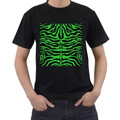 Skin2 Black Marble & Green Colored Pencil Men s T Shirt (black) (two Sided)