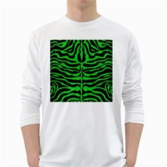 Skin2 Black Marble & Green Colored Pencil White Long Sleeve T Shirts