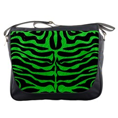 Skin2 Black Marble & Green Colored Pencil Messenger Bags