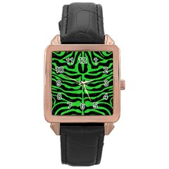 Skin2 Black Marble & Green Colored Pencil Rose Gold Leather Watch