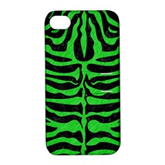 Skin2 Black Marble & Green Colored Pencil Apple Iphone 4/4s Hardshell Case With Stand