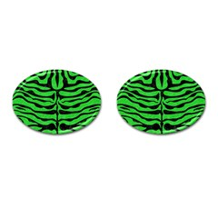 Skin2 Black Marble & Green Colored Pencil (r) Cufflinks (oval)