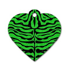 Skin2 Black Marble & Green Colored Pencil (r) Dog Tag Heart (two Sides)