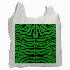 Skin2 Black Marble & Green Colored Pencil (r) Recycle Bag (two Side)