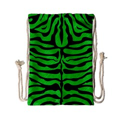 Skin2 Black Marble & Green Colored Pencil (r) Drawstring Bag (small)