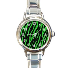 Skin3 Black Marble & Green Colored Pencil Round Italian Charm Watch