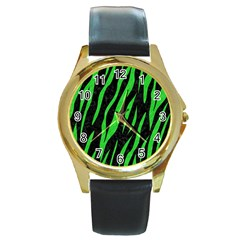 Skin3 Black Marble & Green Colored Pencil Round Gold Metal Watch