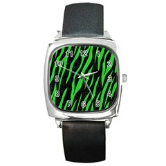 Skin3 Black Marble & Green Colored Pencil Square Metal Watch