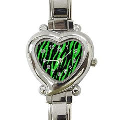 Skin3 Black Marble & Green Colored Pencil Heart Italian Charm Watch