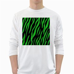 Skin3 Black Marble & Green Colored Pencil White Long Sleeve T Shirts
