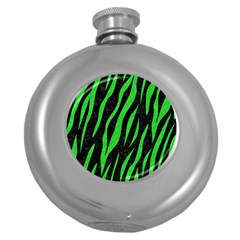 Skin3 Black Marble & Green Colored Pencil Round Hip Flask (5 Oz)