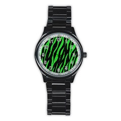 Skin3 Black Marble & Green Colored Pencil Stainless Steel Round Watch