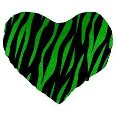 Skin3 Black Marble & Green Colored Pencil Large 19  Premium Flano Heart Shape Cushions