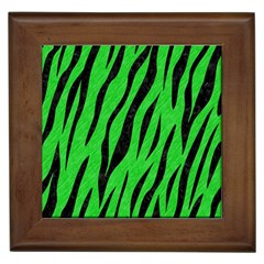 Skin3 Black Marble & Green Colored Pencil (r) Framed Tiles
