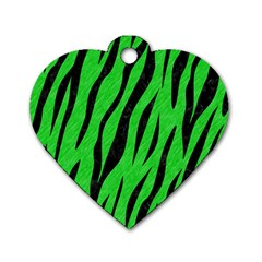 Skin3 Black Marble & Green Colored Pencil (r) Dog Tag Heart (one Side)