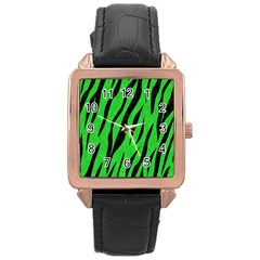 Skin3 Black Marble & Green Colored Pencil (r) Rose Gold Leather Watch