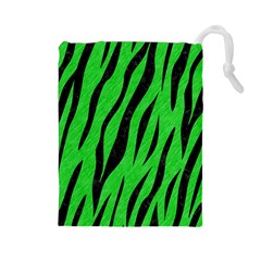 Skin3 Black Marble & Green Colored Pencil (r) Drawstring Pouches (large)