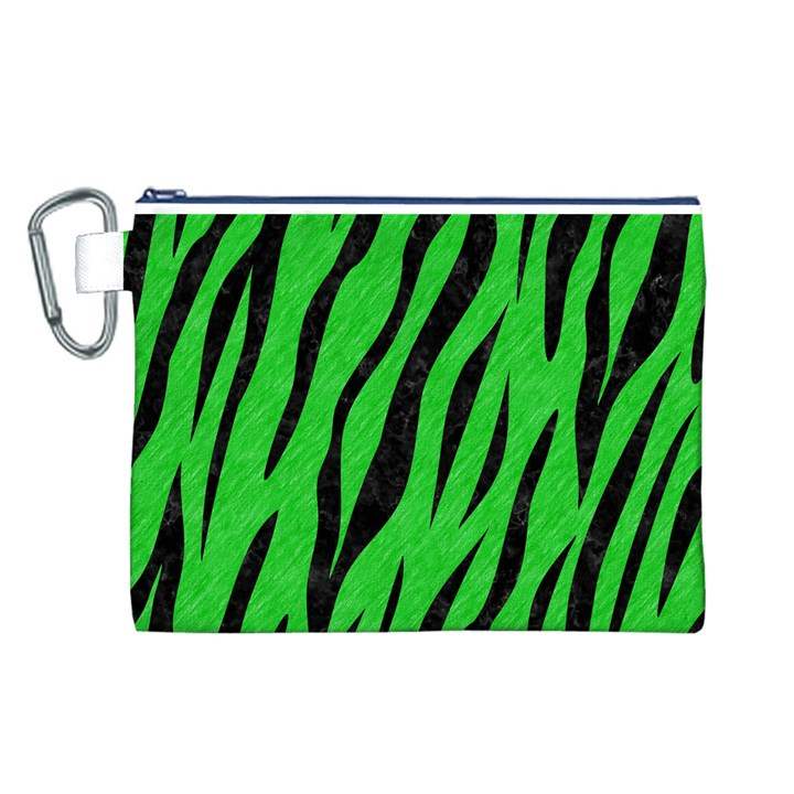 SKIN3 BLACK MARBLE & GREEN COLORED PENCIL (R) Canvas Cosmetic Bag (L)