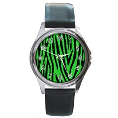 Skin4 Black Marble & Green Colored Pencil Round Metal Watch