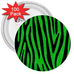 Skin4 Black Marble & Green Colored Pencil 3  Buttons (100 Pack)