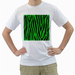 Skin4 Black Marble & Green Colored Pencil Men s T Shirt (white) (two Sided)