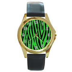 Skin4 Black Marble & Green Colored Pencil Round Gold Metal Watch